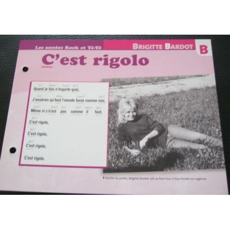 """FICHE FASCICULE """" PAROLES DE CHANSONS """" BRIGITTE BARDOT c'est rigolo 1963"""