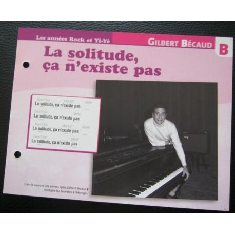 """FICHE FASCICULE """" PAROLES DE CHANSONS """" GILBERT BECAUD la solitude, ça n'existe pas 1965"""