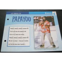 """FICHE FASCICULE """" PAROLES DE CHANSONS """" CARLOS papayou 1983"""