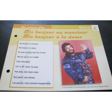 """FICHE FASCICULE """" PAROLES DE CHANSONS """" CARLOS dit bonjour au monsieur dis bonjour a la dame 1978"""