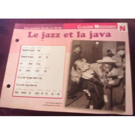 """FICHE FASCICULE """" PAROLES DE CHANSONS """" CLAUDE NOUGARO le jazz et la java 1962"""