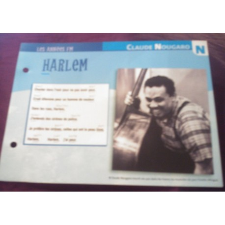 """FICHE FASCICULE """" PAROLES DE CHANSONS """" CLAUDE NOUGARO Harlem 1987"""