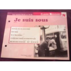 FICHE FASCICULE PAROLES DE CHANSONS CLAUDE NOUGARO je suis sous 1964 collection occasion TBE