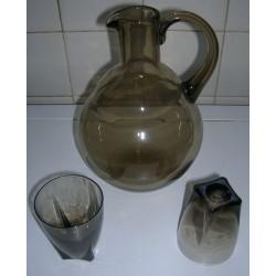 Vintage carafe pichet bouteille bec verseur + 2 verres liqueurs