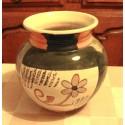 grand vase boule rond barbotine deco floral tbe