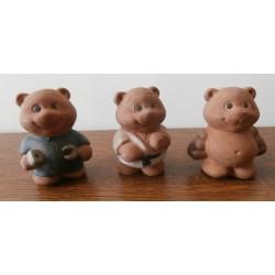 Idée décoration : lot de 3 petites déco oursons pot de fleurs jardin résine
