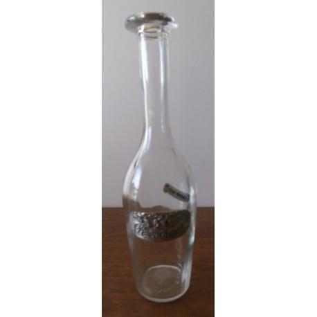 Ancienne bouteille liqueur verre publicitaire RIVESALTES inscription en étain véritable
