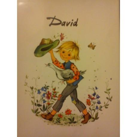 "Prénom sur faïence "" DAVID "" idée cadeau original anniversaire retraite naissance etc neuf"