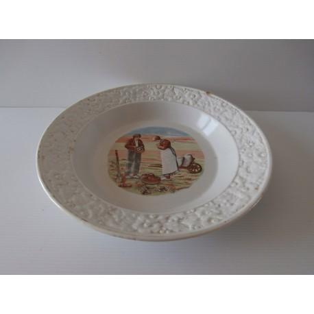 Grande assiette de présentation porcelaine Moulin des loups - MDL