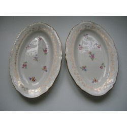 Lot de 2 coupelles ovale porcelaine amandinoise long. 22.5cm liseron doré floral collection occasion