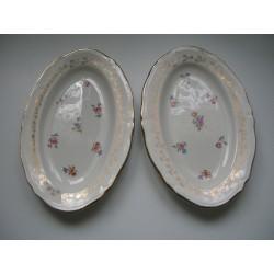 porcelaine amandinoise lot de 2 coupelles ovale long. 22.5cm liseron