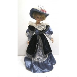 Ancienne poupée de collection blonde yeux bleus robe bleue clair et marine velours avec chapeau Collection