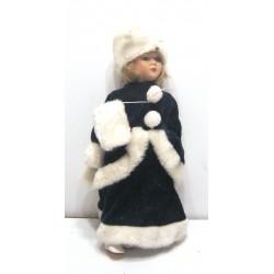 Ancienne poupée de collection blonde yeux verts robe verte et blanche velours type russe avec chapeau Collection