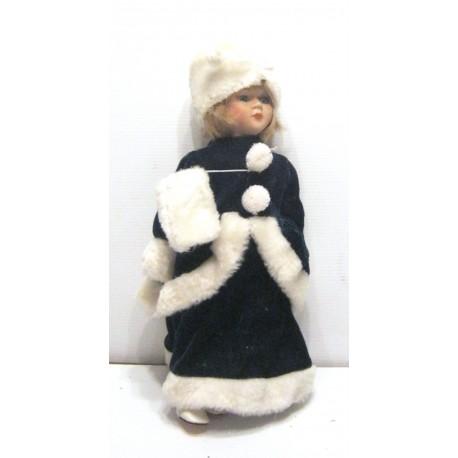 Collection !! ancienne poupée de collection blonde yeux verts robe verte et blanche velours type russe avec chapeau