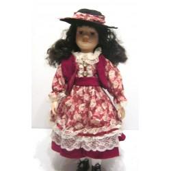 Ancienne poupée de collection brune yeux marron robe rose dentelle blanche velours bordeaux avec chapeau