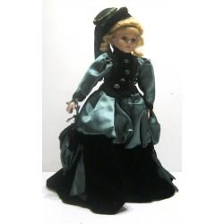 Ancienne poupée de collection blonde yeux vert robe verte velours noir avec chapeau