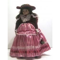 Ancienne poupée de collection brune yeux marron robe rayé blanc/bordeaux