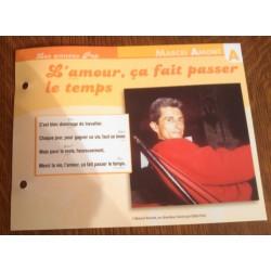 """FICHE FASCICULE """" PAROLES DE CHANSONS """" MARCEL AMONT l'amour ,ça fait passer le temps 1971"""