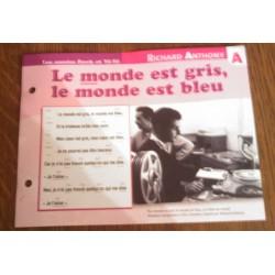 """FICHE FASCICULE """" PAROLES DE CHANSONS """" RICHARD ANTHONY le monde est gris le monde est bleu 1967"""