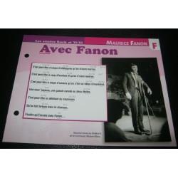 """FICHE FASCICULE """" PAROLES DE CHANSONS """" MAURICE FANON avec fanon 1963"""