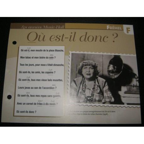 """FICHE FASCICULE """" PAROLES DE CHANSONS """" FREHEL ou est il donc?"""