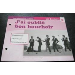 """FICHE FASCICULE """" PAROLES DE CHANSONS """" LES CHARLOTS j'ai oublié bon bouchoir 1967"""