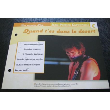 """FICHE FASCICULE """" PAROLES DE CHANSONS """" JEAN-PATRICK CAPDEVILLE quand t'es dans le désert 1979"""