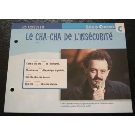 """FICHE FASCICULE """" PAROLES DE CHANSONS """" LOUIS CHEDID le cha-cha de l'insécurité 1983"""