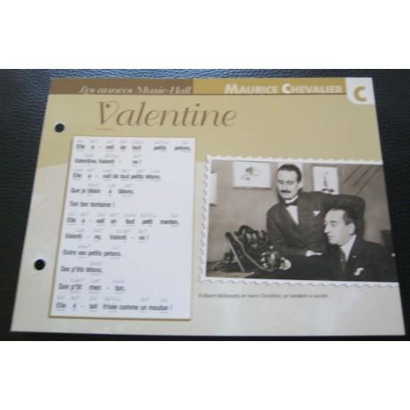 """FICHE FASCICULE """" PAROLES DE CHANSONS """" MAURICE CHEVALIER valentine 1925"""