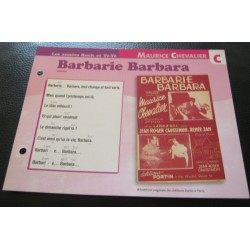 "FICHE FASCICULE "" PAROLES DE CHANSONS "" MAURICE CHEVALIER barberie Barbara 1950"