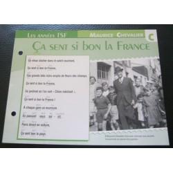 """FICHE FASCICULE """" PAROLES DE CHANSONS """" MAURICE CHEVALIER ça sent si bon la France 1941"""