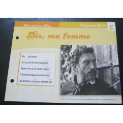 """FICHE FASCICULE """" PAROLES DE CHANSONS """" PHILIPPE CLAY dis,ma femme 1971"""