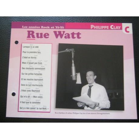 "FICHE FASCICULE "" PAROLES DE CHANSONS "" PHILIPPE CLAY rue watt 1954"