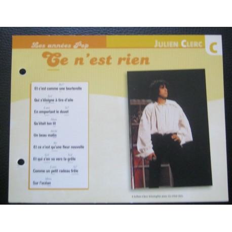 """FICHE FASCICULE """" PAROLES DE CHANSONS """" JULIEN CLERC ce n'est rien 1971"""