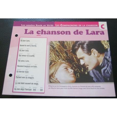 """FICHE FASCICULE """" PAROLES DE CHANSONS """" LES COMPAGNONS DE LA CHANSON la chanson de Lara 1965"""