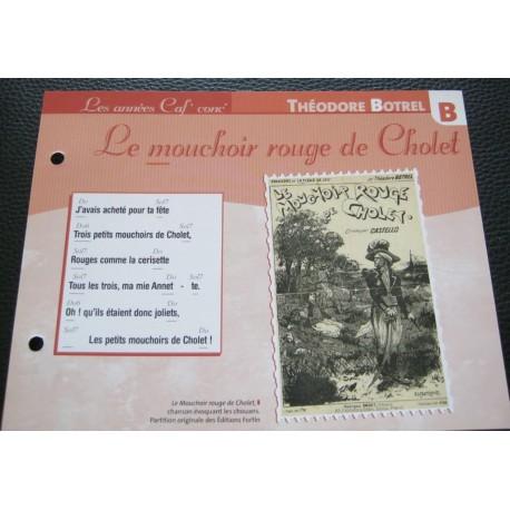 """FICHE FASCICULE """" PAROLES DE CHANSONS """" THÉODORE BOTREL LE MOUCHOIR ROUGE DE CHOLET 1898"""