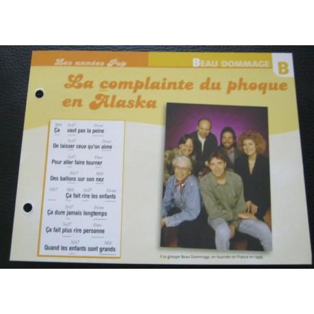 """FICHE FASCICULE """" PAROLES DE CHANSONS """" BEAU DOMMAGE la complainte du phoque en Alaska 1975"""