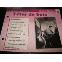"""FICHE FASCICULE """" PAROLES DE CHANSONS """" GILBERT BECAUD tête de bois 1960"""