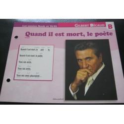 """FICHE FASCICULE """" PAROLES DE CHANSONS """" GILBERT BECAUD quand il est mort, le poète 1963"""