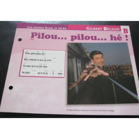 """FICHE FASCICULE """" PAROLES DE CHANSONS """" GILBERT BECAUD pilou... pilou... hé! 1962"""