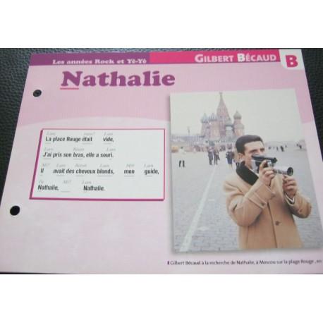 """FICHE FASCICULE """" PAROLES DE CHANSONS """" GILBERT BECAUD Nathalie 1964"""
