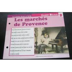 """FICHE FASCICULE """" PAROLES DE CHANSONS """" GILBERT BECAUD les marchés de Provence 1957"""