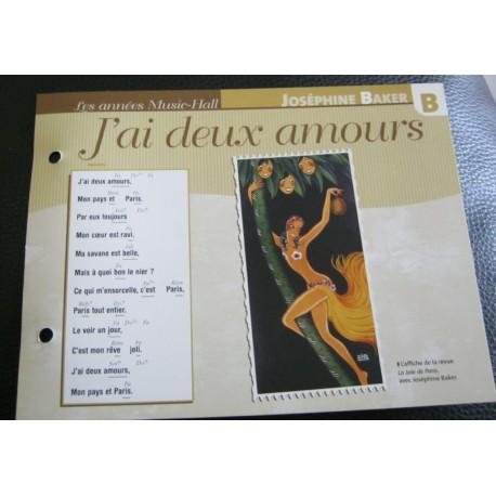 """FICHE FASCICULE """" PAROLES DE CHANSONS """" JOSÉPHINE BAKER j'ai deux amours 1930"""