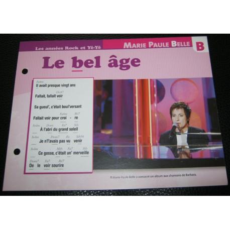 """FICHE FASCICULE """" PAROLES DE CHANSONS """" MARIE-PAULE BELLE le bel âge 1964"""