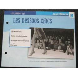 """FICHE FASCICULE """" PAROLES DE CHANSONS """" JANE BIRKIN les dessous chics 1983"""