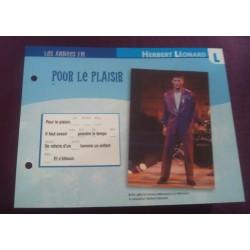 """FICHE FASCICULE """" PAROLES DE CHANSONS """" HERBERT LEONARD pour le plaisir 1980"""