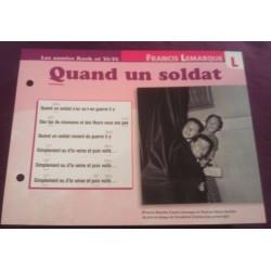 """FICHE FASCICULE """" PAROLES DE CHANSONS """" FRANCIS LEMARQUE quand un soldat 1952"""