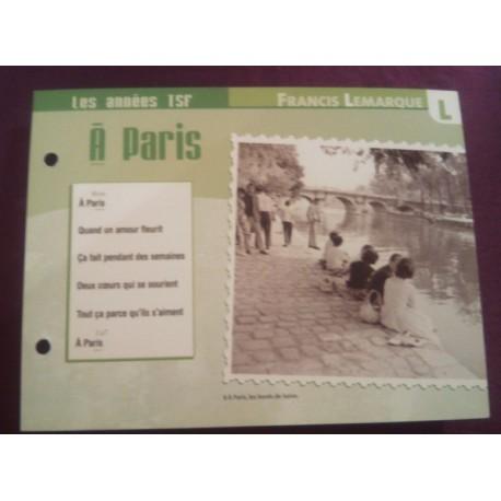 """FICHE FASCICULE """" PAROLES DE CHANSONS """" FRANCIS LEMARQUE a Paris 1948"""