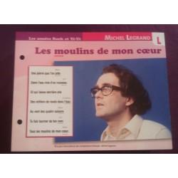 """FICHE FASCICULE """" PAROLES DE CHANSONS """" MICHEL LEGRAND les moulins de mon cœur 1968"""