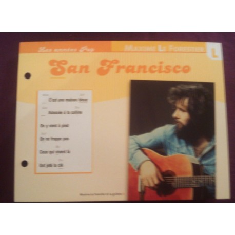 "FICHE FASCICULE "" PAROLES DE CHANSONS "" MAXIME LE FORESTIER San Francisco 1973"